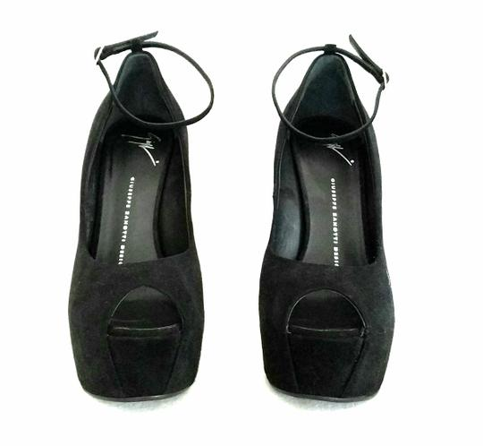 Giuseppe Zanotti Curved Suede Peep Toes Ankle Strap Black Wedges Image 3