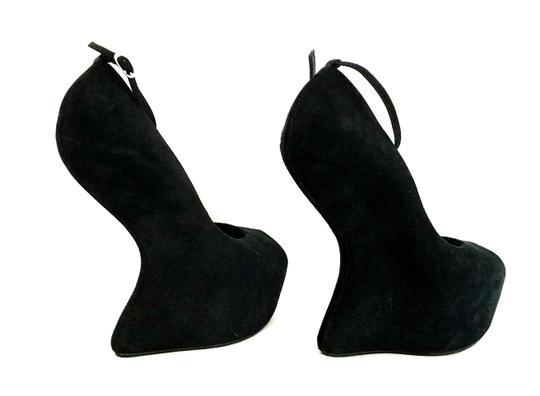 Giuseppe Zanotti Curved Suede Peep Toes Ankle Strap Black Wedges Image 4