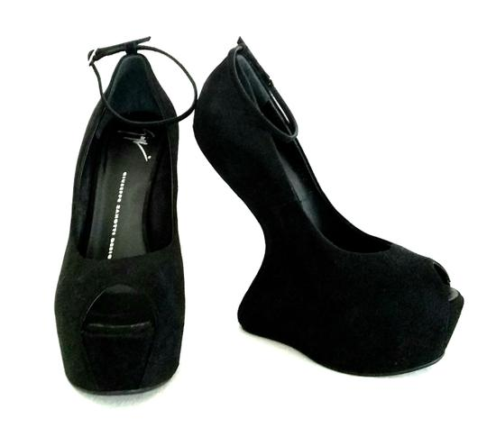 Giuseppe Zanotti Curved Suede Peep Toes Ankle Strap Black Wedges Image 6