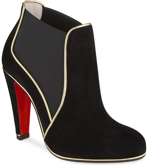 Christian Louboutin Loulouboot Piped Suede Black Boots Image 1
