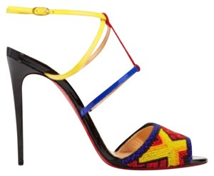 Christian Louboutin black yellow red blue Sandals