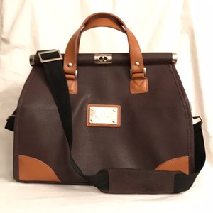 Joy & IMAN Tote Cross Body Leather Cosmetic Satchel Brown Tan Travel Bag