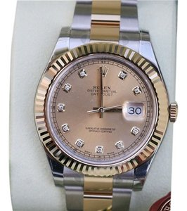 Rolex NEW ROLEX DATEJUST II MENS TWO TONE GOLD STEEL DIAMOND DIAL 41mm 116333