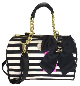 Betsey Johnson Cross Body Wallet Satchel in black bone stripe