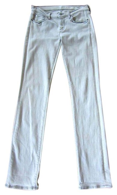 7 For All Mankind Skinny Silver Washed Straight Leg Jeans-Light Wash Image 0