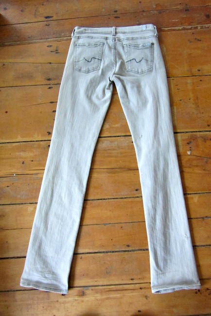 7 For All Mankind Skinny Silver Washed Straight Leg Jeans-Light Wash Image 3
