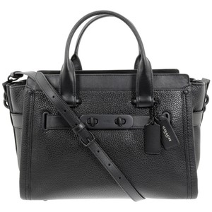 Coach 34408 Swagger Carryall Nubuck Satchel in Matte Black