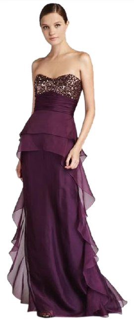Item - Plum Strapless Sequin-top Ruffle Gown Long Formal Dress Size 14 (L)