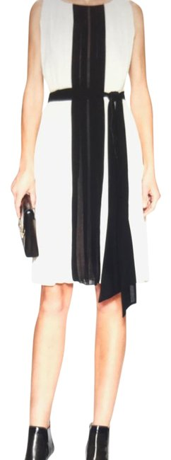Item - Sand / Black And Color Contrast Pleated Color-block Knee Length Cocktail Dress Size 8 (M)