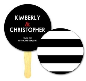 Customizing Available 35 Simple Bliss Stripe Mini Die Cut Circle Program Wedding Paddle Fan