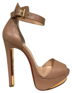 Christian Louboutin Tuctopen Ankle Strap Stiletto Platform Gold nude Pumps