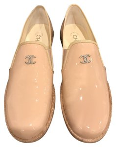 Chanel Patent Leather Espadrille Loafer Logo nude Flats