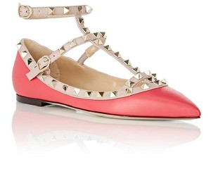 Valentino Rockstud T Strap Flats Cage Size 39 Fuchsia Pink Nude Pumps