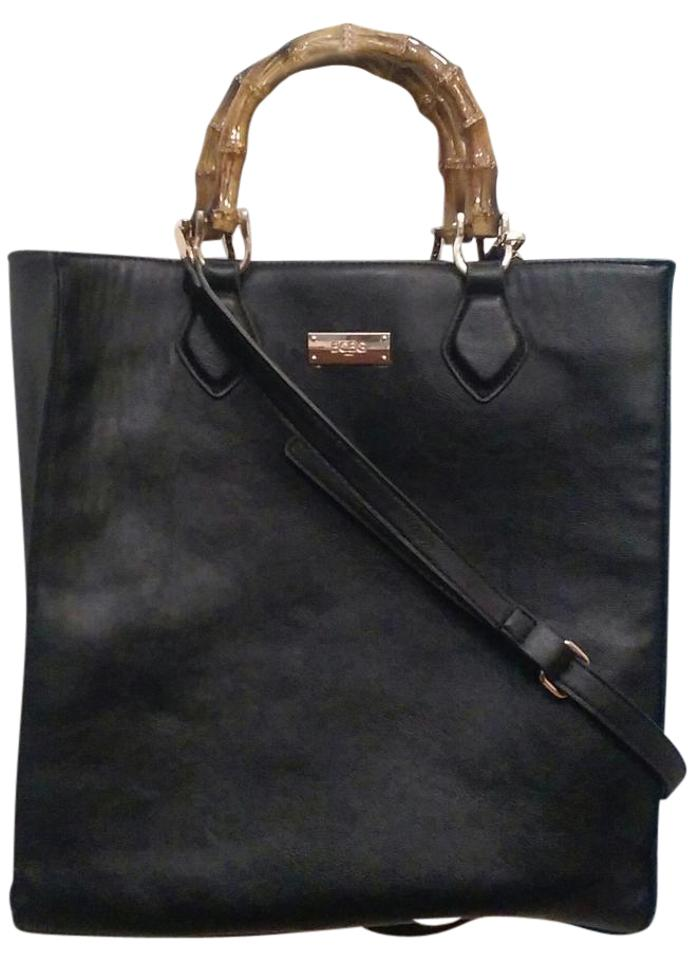 d95e33b9d BCBG Paris Bamboo Handles Clutch Included Black Leather Tote - Tradesy