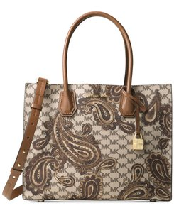 Michael Kors Mk Logo Pvc Paisley Mercer New With Tags Brown Tote in Luggage