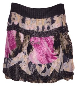 Diane von Furstenberg Dvf Ruffle Skirt Black Multi Color