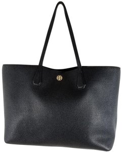 Tory Burch Pebbled Leather Flat Leather Handles Gold Metal Logo Open Pockets Tote in Black