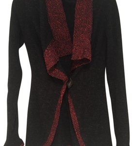 Margi Kent Knit Stevie Nicks Style Boucle Primarily Black with a tweed inspired mix of red, aqua and yellow Blazer