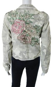 Da-Nang Anthropologie Spring Camouflage Button Down Ivory Camouflage Jacket