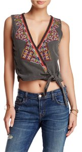 Free People Crop Around The World Embroidered Top Black multi
