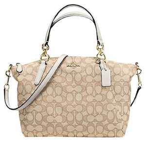 Coach 58283 Signature Outline Rare Sold Out Valentine's Day Satchel in Light Khaki/Chalk