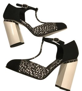Chanel Chain Mary Jane Tweed Heel Silver/Grey/Black Sandals