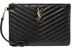 Saint Laurent Ysl Classic Monogramme Qulited Monogram Black Clutch