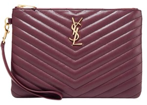 Saint Laurent Ysl Pouch Wristlet Burgundy Clutch