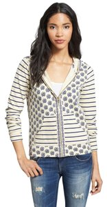 Lucky Brand Cotton Striped Floral Print Ivory Jacket