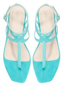 Zara Ankle Strap Suede Turquoise Sandals