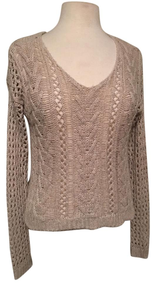 4521fdfc6a4c2 Hollister V Neck Long Sleeve Loose Knit Wheat Sweater - Tradesy
