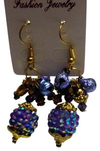 Other New Gold Tone Purple Chunky Earrings J3112