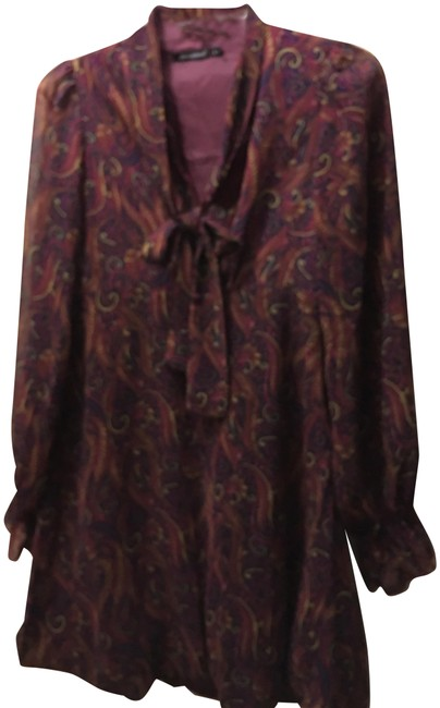 Item - Paisley Blue/Wine High Bodice Sheer Sleeves Tie Sash Collar Zipper Short Night Out Dress Size 8 (M)