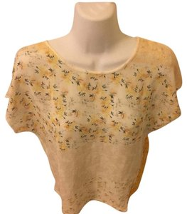 Zara T Shirt white with yellow .. florals