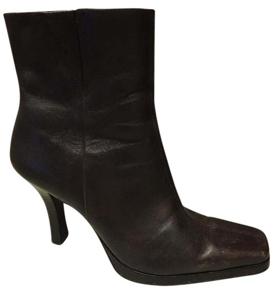 Diba Brown Squared Toe Zipper Leather Boots/Booties Upper Wood Platform Heel Boots/Booties Leather 3e3c19