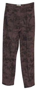 Talbots Print Polyester Lycra Straight Pants Brown