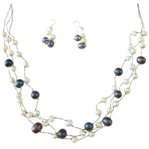 Fashion Jewelry For Everyone Dark Blue and White Freshwater Pearls Other