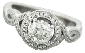 Other Ladies Modern 18K 750 White Gold Round Diamond Halo Engagement Ring