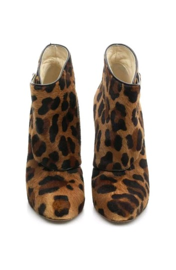 Brian Atwood Calf Hair Brown Leopard Boots Image 4