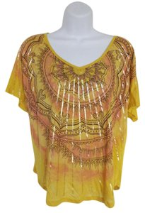 New Directions Newnew Directions Tribal Print Short Sleeve Size Pm Top Multi-color