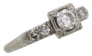 Other EGL Ladies Vintage Antique 14K White Gold 0.42 Diamond Engagement Ring