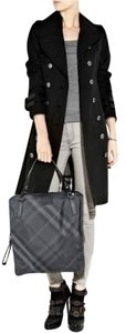 Burberry Nova Check Check Plaid Nylon Leather Tote in Gray