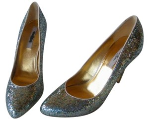 Ted Baker Glitter Leather Lining Silver Pumps