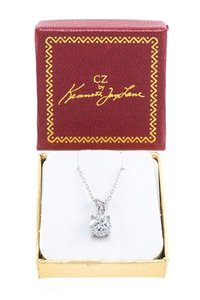 Kenneth Jay Lane Kenneth Jay Lane Rhodium plated brass solitaire round prong CZ neckla