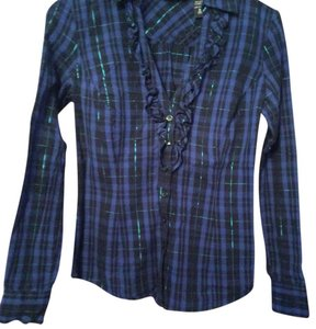 New York & Company Button Down Shirt Blue, black, iridescent thread