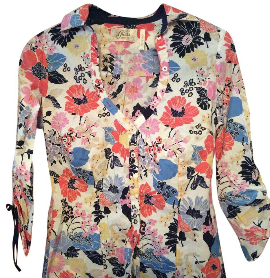 d446b0b03c06a8 Guess Multicolor Floral Button-down Top Size 8 (M) - Tradesy