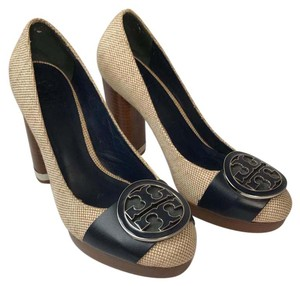 Tory Burch canvas and navy Pumps