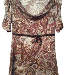Maurices Top burgundy, brown, ivory