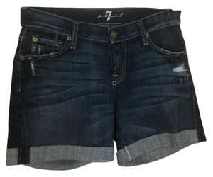 7 For All Mankind Destressed Jeans Cuffed Shorts blue