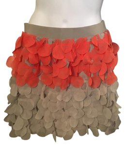 Esley tiered cut out circles frayed Mini Skirt multi gray and orange